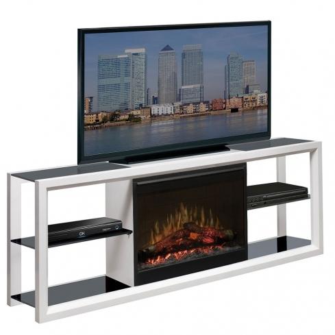 Comoda TV cu Semineu electric Novara White cu focar Dimplex Optiflame FDX-2608 si sunet