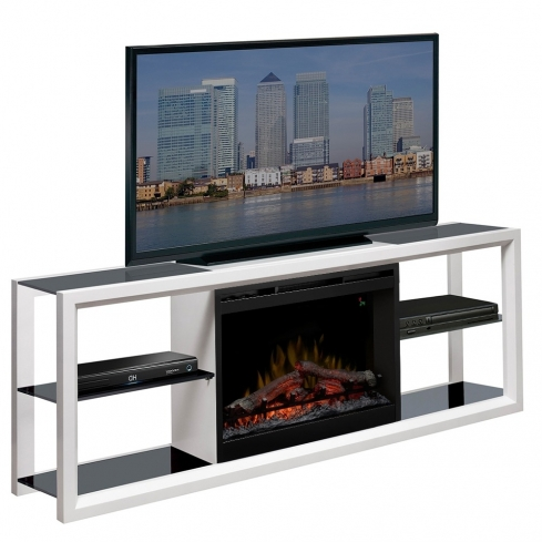 Comoda TV cu Semineu electric Novara White cu focar Dimplex Optiflame FDX-2624L si sunet